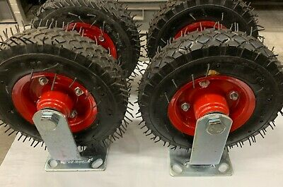 "8"" Castor  Wheel (Set of 4) Pneumatic 2 Swivel & 2 Fixed Caster Trolley Wheel"