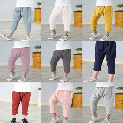 Baby Boy Girl Kids Harem Pants Baggy Trouser Toddler PP Leggings Sweatpants 1-7Y