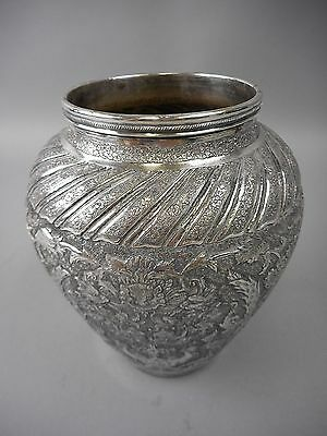 Antique Middle Eastern/Persian Silver Vase or Urn 13.32 OzT Dragons & Pheasants