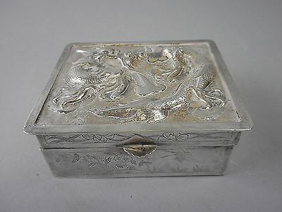 Chinese Export Signed Sterling Silver Dragon Motif Trinket Box with Wood Insert
