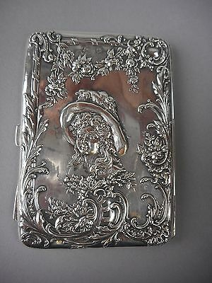 English Sterling Silver Repousse Card Case Girl in Hat w/Flowers Art Nouveau