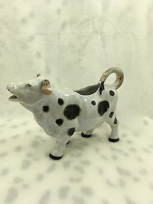 "Vintage Japan Ceramic Cow Milk Creamer Repaired 7""x5.5"" Holstein"