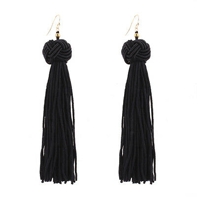 Women Fashion Weave Tassel Earrings Yellow Black Red Long Drop Earrings Jewelry