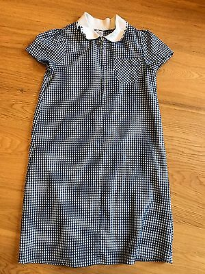 Girls Size 8-9 SCHOOL UNIFORM Navy & white check dress DEBENHAMS UK