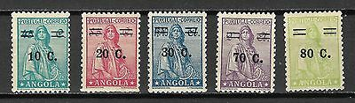 Angola Sc#263-7 LH  Revalued Ceres Issues, 1934