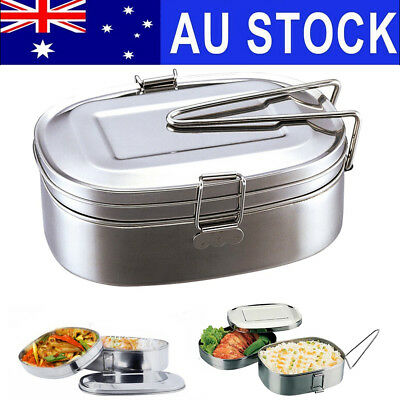 AU STOCK 2 Layer Stainless Food Picnic Container Handle Case Bento Lunch Box