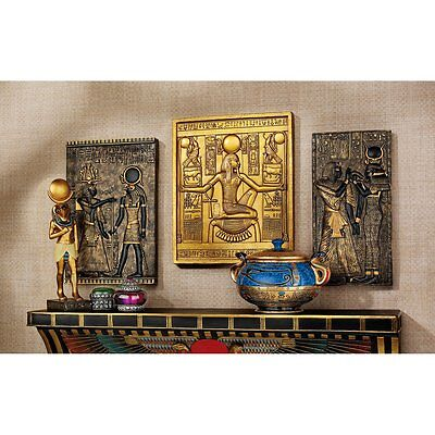 Set of 3 Egyptian Wall Plaque Sculptures: King Tut Goddess Isis God Horus GOLD