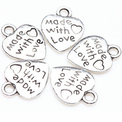 50X Tibet Silver Made With Love Charm Heart Beads Pendants DIY Jewelry Making