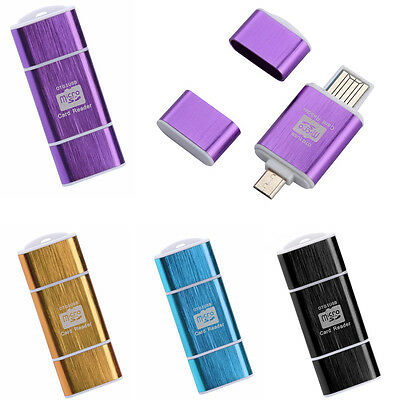 Mini 2In1 Micro SD OTG USB 2.0 Flash Drive Card Reader For Smartphone PC Tablet