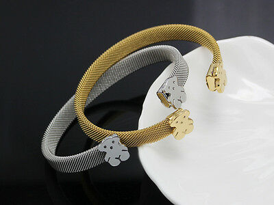 NEW Titanium Stainless Steel Mesh Silver Gold Bear Bangle Bracelet Cuff Gifts