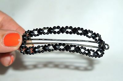 ANTIQUE VICTORIAN WHITBY JET GLASS HAIR BARRETTE 19cent