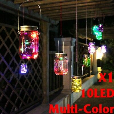 Solar Lights LED Color Changing Fairy Light Solar Mason Jar Garden Patio Decor