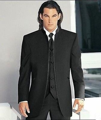 Custom black Mens wedding Groom Tuxedos Bridegroom Best Man Suit Chinese Style