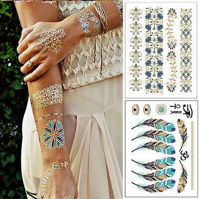 Temporary Disposable Metallic Tattoo Gold Silver Black Flash Tattoos Beauty