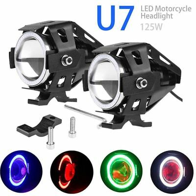125W U7 Motorcycle Cree LED Headlight Driving Fog Spot Light +Switch Strobe Lamp