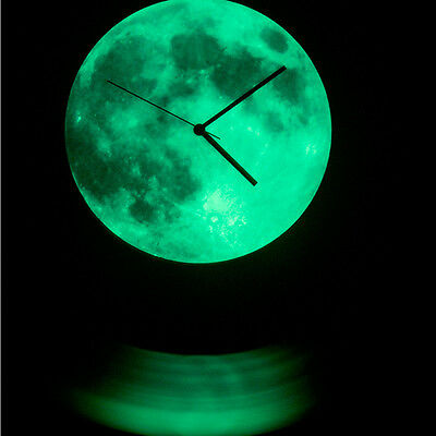 Creative Glow In The Dark Luminous Moon Wall Clock Watch Home Living Room Decor