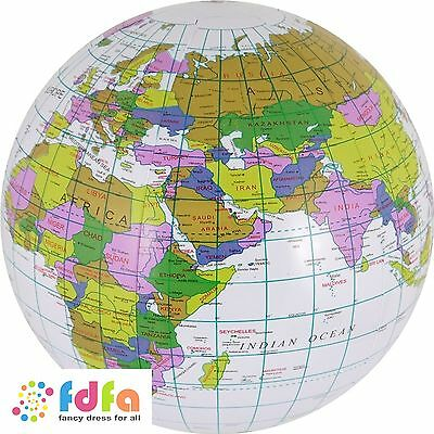 Blow Up Inflatable Globe 40Cm Around The World Educational Pool Party Prop