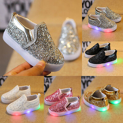 Fashion Kids Toddler Baby Girl Leather Lighted Sneakers Soft Crib Shoes Moccasin