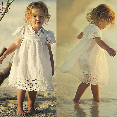 Summer Kids Toddler Baby Girl Lace Party Princess Tutu Dress Holiday Sundress UK