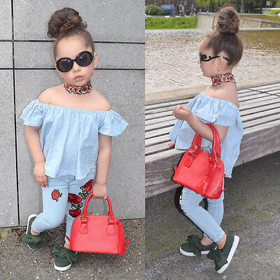 Toddler Kids Baby Girl Off Shoulder Shirt Tops+Floral Pants Outfits 2PCS Clothes