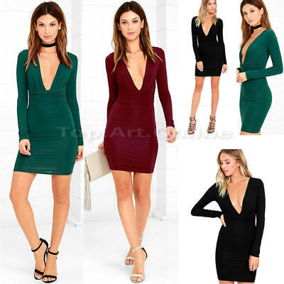 Sexy Womens Long Sleeve Bandage Bodycon Evening Party Cocktail Club Mini Dress