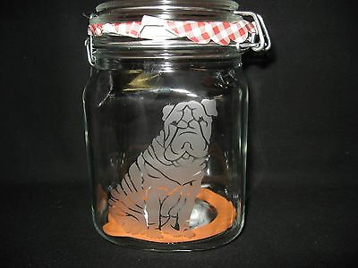 New Etched Shar Pei Glass Mason Storage Jar