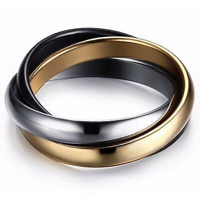 9K Gold Gf Black Silver Titanium Mens Women Russian Engagement Wedding Band Ring