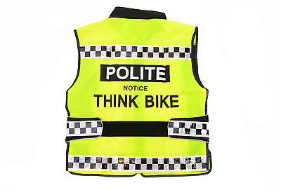 2015 Polite High Vis Reflective Yellow Adjustable Cycle/Motorbike Tabard RRP £34