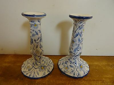 Portugal (2)  Blue Floral Hand Painted Candle Stix Holders