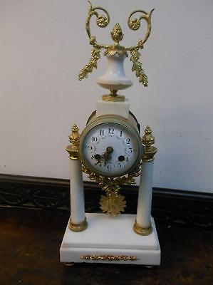 french white marble and ormolu mantel clock c1900s