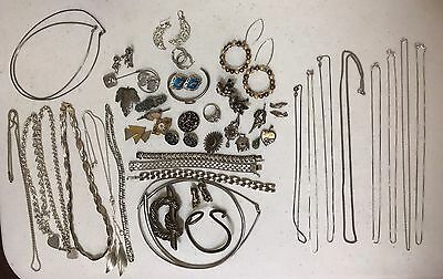 Vintage 925 Sterling Silver Jewelry Lot Scrap Or Not 530 Grams
