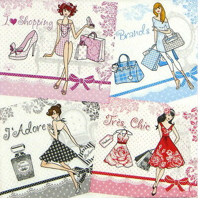 4x Paper Napkins - Fashion Ladies - for Party, Decoupage Craft