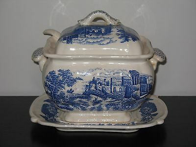 Vintage Trimont Ware Japan Blue & White Soup Tureen w/ ladle and underplate