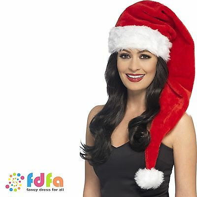 LONG SANTA HAT MISS SANTA MRS CLAUS CHRISTMAS one size  fancy dress accessory