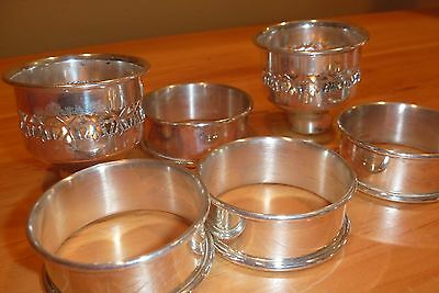 Vintage napkin rings & candle inserts- silverplate
