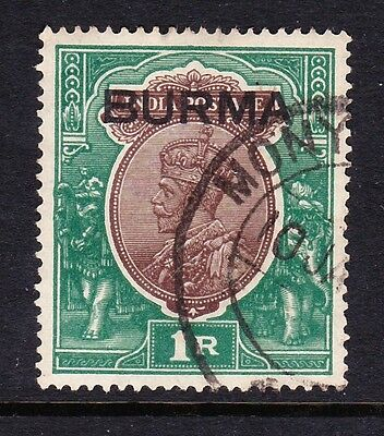 BURMA 1937 1r CHOCOLATE & GREEN SG 13 FINE USED.