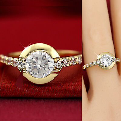 18K YELLOW GOLD GF solitaire HALO ROUND 2CT LAB DIAMOND SOLID LADY WEDDING RING