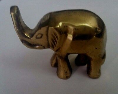 Vintage Metal Brass Elephant Figurine, Paperweight Trunk Up!