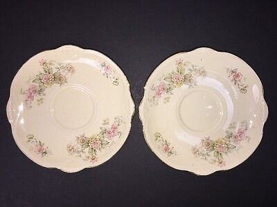 2 Saucers Marigold Roses Flowers Gold Edge Line Homer Laughlin China HLC NO CUPS
