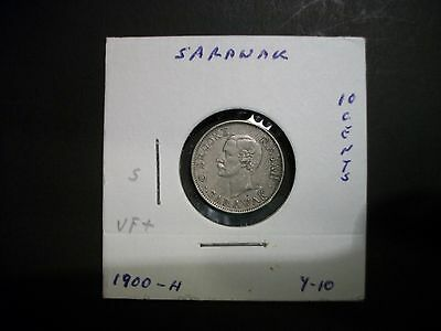 Sarawak Malaysia 1900-H 10 Cents silver small foreign coin