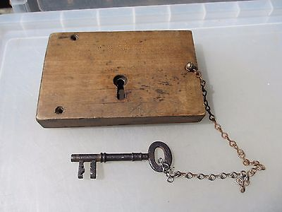 Large Antique Oak lock Iron Key Victorian Church Architectural Wood Georgian Old