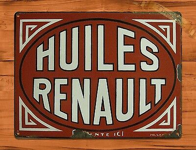 """TIN SIGN """"Huiles Renault"""" Rustic French Garage Tires Wall Decor"""