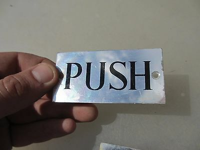 Retro Chrome PUSH Door Sign Plaque Black Lettering Old