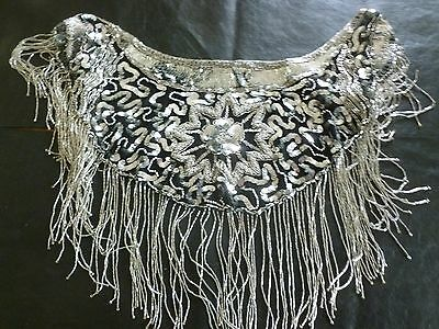 "Womens+Evening+ Black & Silver+Bling & Beaded accessory+Shawl Style+ 6"" Fringe+"