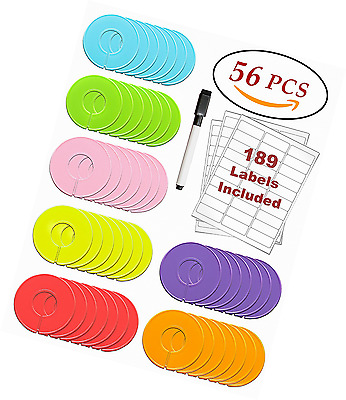 Clothing Rack Size Dividers 56 Pack Multi COLORED Round Plastic Circle Hanger Ga