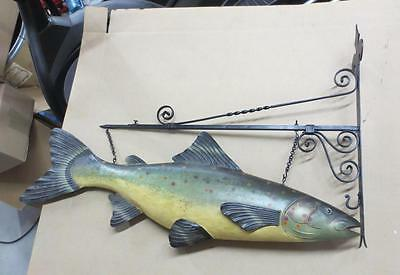 Large Metal Trout Folk Art Display Sign w/ Cast Iron Holder 43""