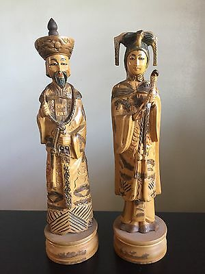 Fine Old PAIR Chinese Carved Wooden Qianlong Emperor Empress Statues Art Figures