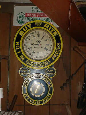 "BUY RITE LIQUOR 31 DAY WIND-UP CLOCK by H.C. CLOCKMAKERS NEW YORK  ""AS-IS"""
