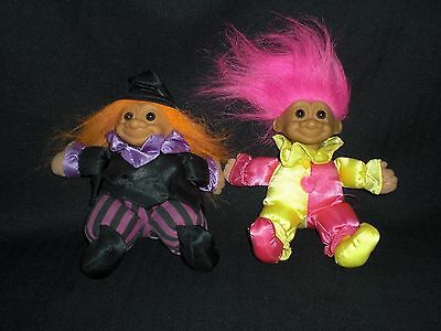 "Lot of 2 Vintage Russ 6"" Bean Bag Trolls - #3857 Witch & #3606 Clown - VGUC"