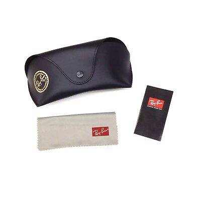 NEW Ray Ban Black Sunglasses Case Snap Closure Belt Loop w Cleaning Cloth & Book